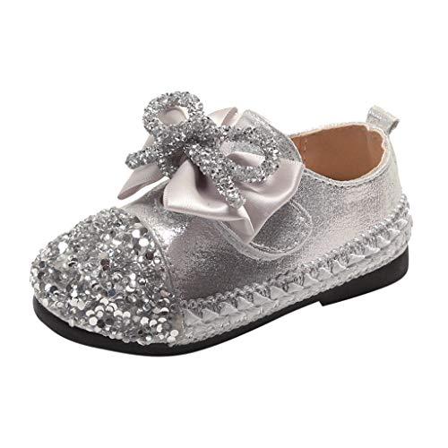Alwayswin Mädchen Party Prinzessin Schuhe Herbst Strass Pailletten Einzelne Schuhe Freizeitschuhe Erbsen Schuhe Bowknot Loafers Mode Elegant Mary Jane Schuhe Bequem rutschfest