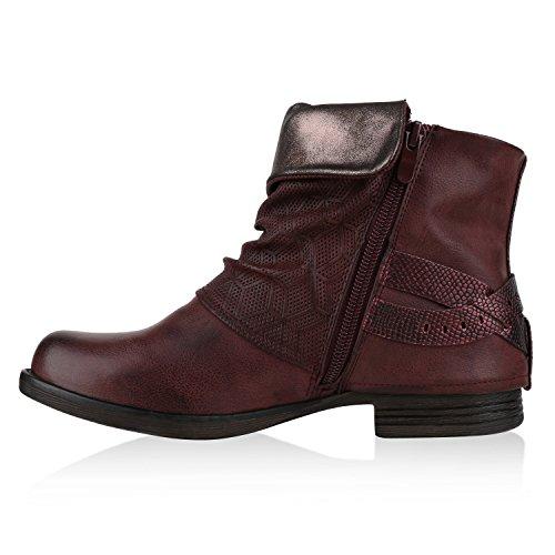 Damen Biker Boots Used Look Metallic Stiefeletten Nieten Schuhe Dunkelrot