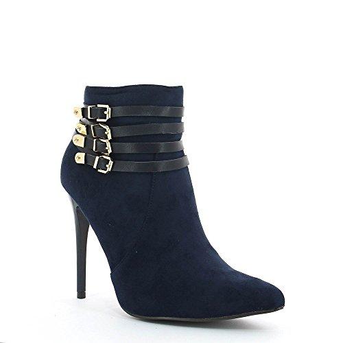 Ideal Shoes–Scarponcini a tallone montantes effetto camoscio con ceinturons Rosine Marine