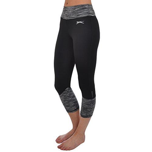 Slazenger - leggings a 3/4 da donna per fitness Nero