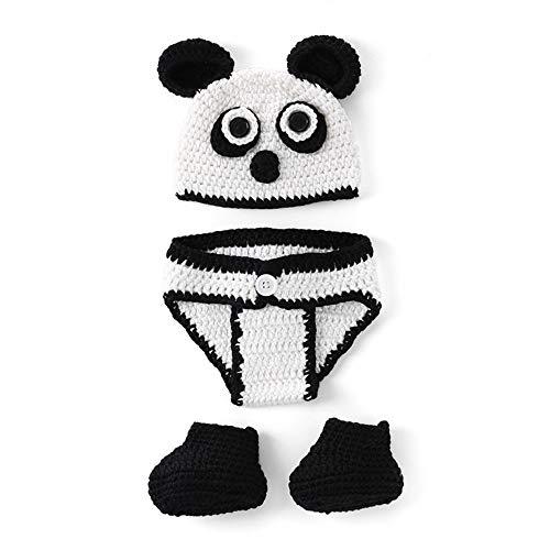 Kostüm Neugeborene Panda - Fliyeong Premium Qualität Niedlichen Cartoon Panda Gestrickte Höschen Beanie Cap Socken Kostüm Fotografie Prop für Neugeborene Baby Infant