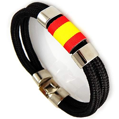 a188ae581c02 AKIEE Pulsera Espana Hombre o Mujer Bandera España con Cuerda Nautica  (Black)