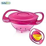 Baby Gyro Bowl von Babyjem - Die 360 Grad Schüssel ist drehbar und hält das Essen sicher in der Schüssel so bleibt ihr Kind und der Esstisch immer sauber (Rosa)