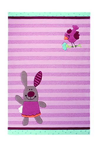 Sigikid Kinderteppich 3 Happy Friends Stripes | rose | 120 x 180 cm