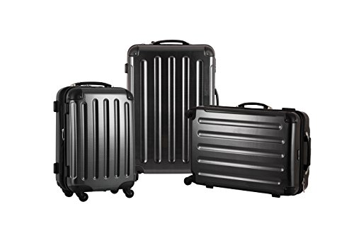 KOFFERSET M L XL Polycarbonat / ABS Trolley Koffer Bordcase Set Hartschale Reisekoffer Kofferset 4 Rollen Dunkel Carbon Optik