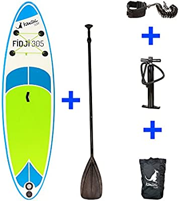 Kangui – Stand Up Paddle SUP inflable + paleta + Mochila + bomba alta presión Manómetro + Leash + Kit de réparation- Fiyi