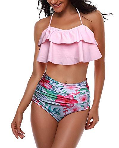 Achruor Damen Badeanzug Schwimmanzug Neckholder Bikini Sets Zweiteilige Bademode mit Hoher Taille Strandkleidung Oberteil und Bikinihose -