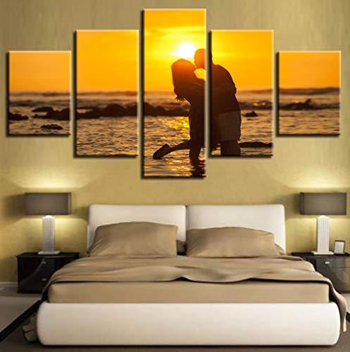 Kunst Modulare Leinwand Bilderrahmen 5 Stücke Paare Küssen Sonnenuntergang Sonnenschein Seascape Malerei Wohnzimmer Wanddekor Moderne Prints20x35 20x45 20x55 cm (Skulptur Küssen)
