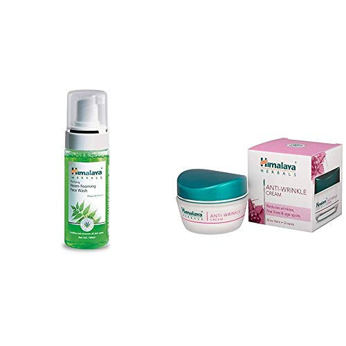 Himalaya Herbals Purifying Neem Foaming Face Wash, 150ml & Herbals Anti-Wrinkle Cream, 50g Combo