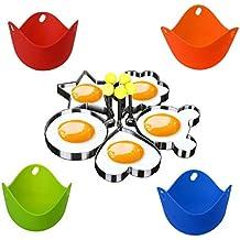 WENTS Juego de 4 vasos de silicona para huevos y 4 moldes de huevo frito de