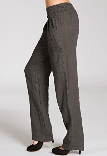 CASPAR KHS020 Donna Pantaloni di Lino Grigio scuro