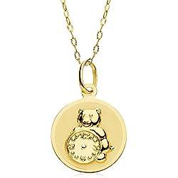 Medalla bebé reloj y osito redonda oro amarillo 18 ktes 15mm cadena 50cm. GRABADO INCLUIDO