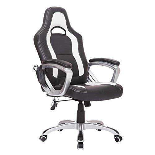 Homcom® Massagesessel Bürostuhl Chefsessel Racing Drehstuhl mit Wärmefunktion, Kunstleder, 64x68x(112-121)cm (Weiß+Schwarz)