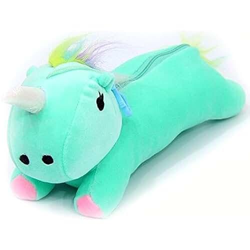 maquillaje unicornio kawaii ehenz® TM–Neceser unicornio 30cm, color verde 30CM x 11CM