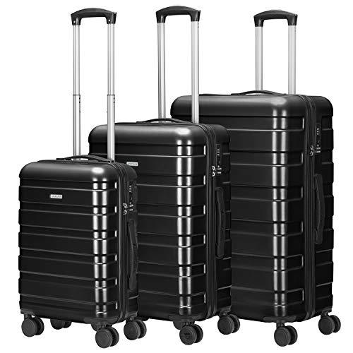AMASAVA 4 Rollen Hartschale Koffer Set Handgepäck Rollkoffer Trolley Reisekoffer mit TSA-Schloss ABS+PC Zwillingsrollen Hartschalentrolley Taschen Gepäck (Schwarz, Set) (Kofferset Mit Tsa-schloss)