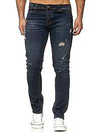 Reslad Jeans Herren Destroyed Slim Fit Herren-Hose Jeanshose Männer Hosen  Stretch Denim Jeans RS 673bea4a50