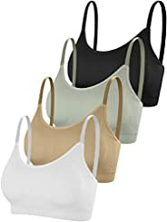 Yusongirl 4 Pieces Sports Tube Top Bra Removable Chest Pad Seamless Mini Casual Camisole Bra for Women Girls