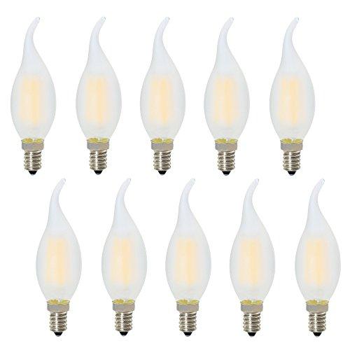 E14 Ampoule à Bougie LED 4W,Dimmable Ampoule à Candélabre C35 LED, Blanc Chaud 2700K,E14 Ampoule à Incandescence 30W, Pointe Courbée Forme Flamme 300lm,Ampoule à Filament LED,240V, 10x