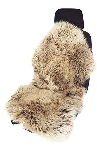 Leibersperger Felle Autofell-Sitzauflage Lammfell-Naturform langwollig für Stoffsitze - Keine HEISSEN SITZE im Sommer (Cappuccino)