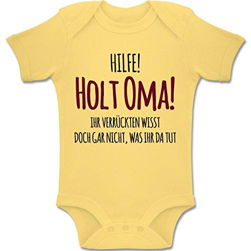 Shirtracer Sprüche Baby - Hilfe Holt Oma - 3-6 Monate - Hellgelb - BZ10 - Baby Body Kurzarm Jungen Mädchen