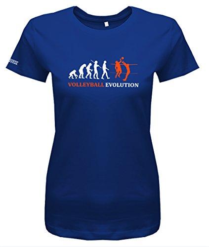 Volleyball Evolution - Damen T-Shirt in Royalblau by Jayess Gr. M