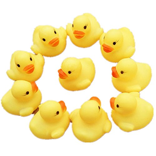 Kleinkindspielzeug Longra 12 Gummi Ente Entchen Bad Baby Dusche Spielzeug Party Gefälligkeiten Spielzeug Gelb Ente (Baby Tintenfisch Kostüm)