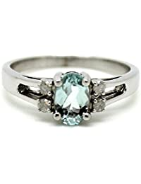 0.70Ct Oval Aquamarine and Diamond Designer Ring in Sterling Silver