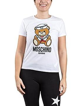Moschino T-shirt girocollo SWIM, donna, maglietta a maniche corte, maxi stampa frontale con orsetto Teddy Bear...