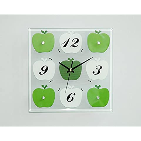 MSRRY Elegante orologio da parete camera da letto soggiorno parete Orologio grafico ufficio moderno minimalista creative orologi al quarzo , Mela Verde