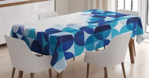 Abakuhaus geometrico tovaglia, cerchi bianchi moderni, facile da pulire stampa resistente al lavaggio per l'uso esterno, 140 x 200 cm, blu scuro bianco e blu