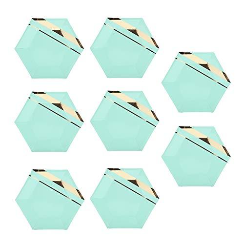 FTVOGUE Gold Streifen gedruckt Mint Green Party Papier Teller/Tassen Einweg Baby Shower Geburtstag Hochzeit Geschirr Liefert(01) (Mint Pappteller Grüne)