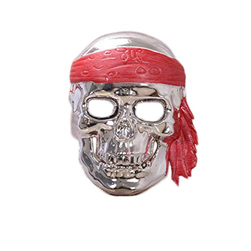 TREESTAR Halloween Cranio Pirata Mask Party Dress Up Props Masquerade Masquerade Masquerade Masquerade Halloween Party Maske 22 * 16CM Argent (Halloween Pirate Dress Up)