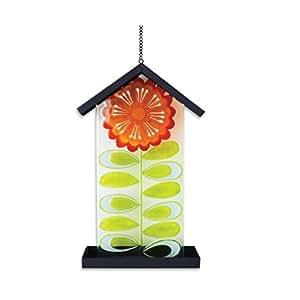 'Silvestri Glas und Eisen Blume Vogeltränke zum Aufhängen, 44,5cm, gelb
