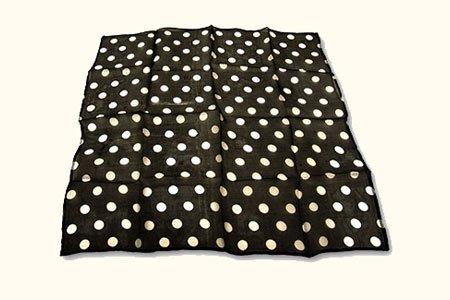 100% Seide Schal Schwarz White Dot (45 cm im Quadrat) -