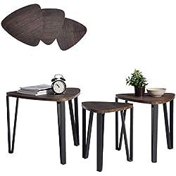 Aingoo Tables Gigognes, Lot de 3 Tables Basses, Vintage Table d'appoint, Table D'extrémité avec Pied en Métal, Marron Foncé