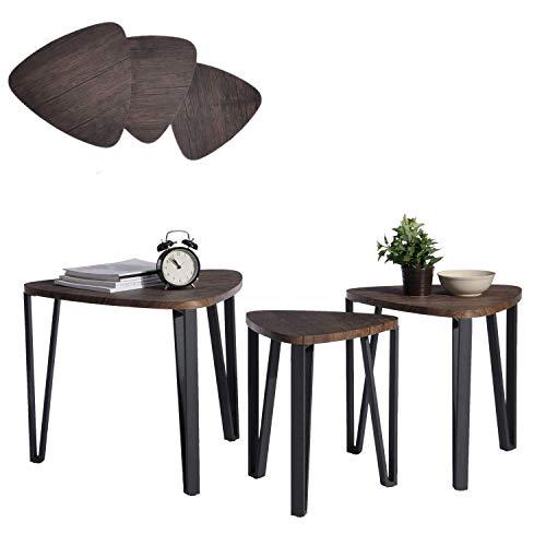 Aingoo 3 Couchtische Beistelltisch Nachttisch 3er Set für Balkon Garten Satztisch Sitzgruppe Niedrige Tisch Nesting Table Mitteldichter Holzfaserplatte MDF Tischbein Aus Metall Tisch In Braun -