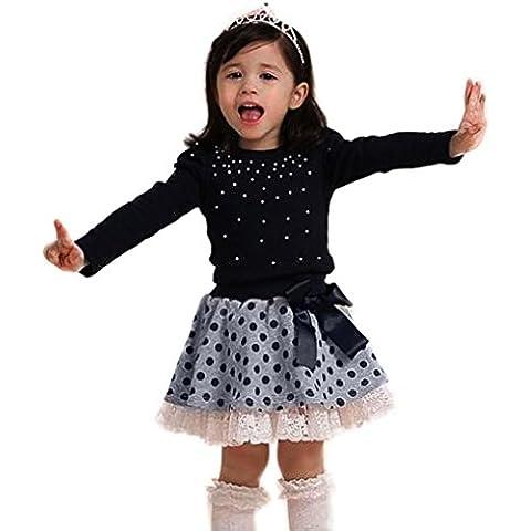 FEITONG Bebé Chicas Equipar Princesa Ropa Perla Camiseta Tops Cordón Punto Corto Falda 1 Set