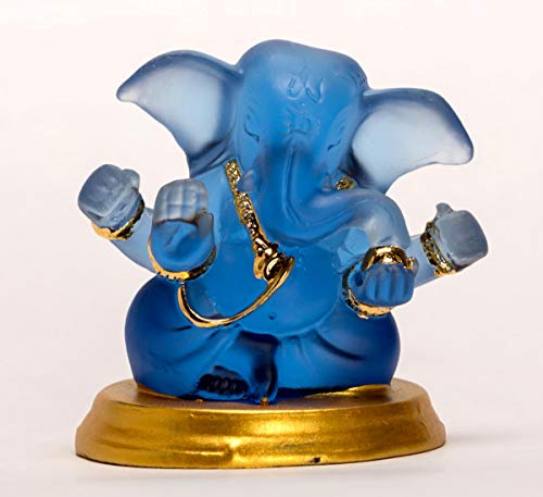 celebrationgift Glass Lord Ganesha Idol Home Decor Figurine No. 69 6.5x6.5x6.5cm(Multicolour)