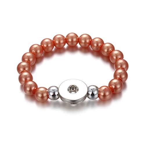 Awertaweyt Edelstein Perlen Armband Handmade Snap Button Bracelet 10Mm Imitation Pearls Beads Snap Bracelet Fit 18Mm Snap Buttons Jewelry Summer Beaded Bracelet 6 (Perlen-snap Button Armbänder)