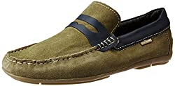 U.S. Polo Assn. Mens Dark Green Leather Loafers and Moccasins - 8 UK/India (42 EU)