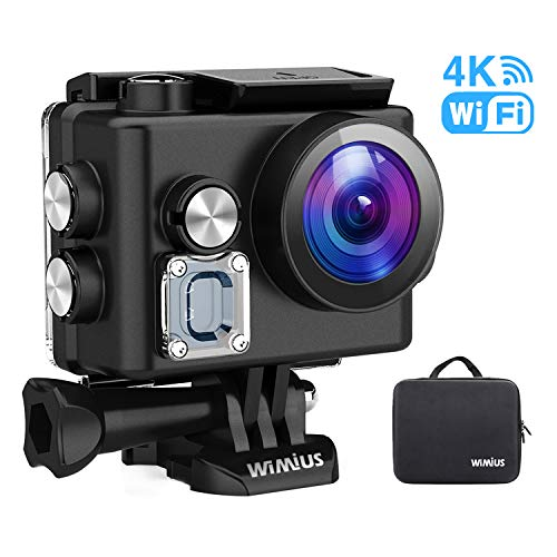 WiMiUS Caméra d\'action L2 4K, caméra Sport Ultra-HD 12MP Caméra sous-Marine étanche 40M Écran de 2 Pouces avec kit d\'accessoires et 2 Piles (Noir)