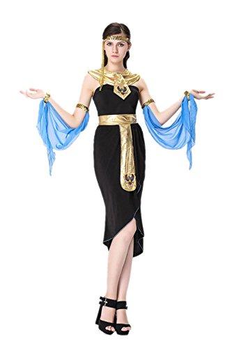 Honeystore Damen Halloween Kostüme Kleopatra und Griechischen Göttin Cosplay Karneval Allerheiligen Kleider Schwarz und (Kostüm Indianer Verleih)