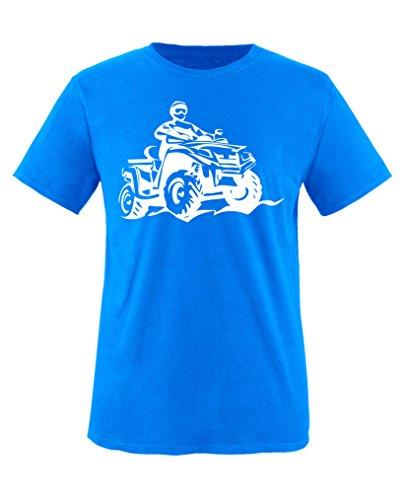 Comedy Shirts - Quad ATV - Jungen T-Shirt - Royalblau/Weiss Gr. 134-146