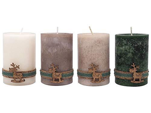 4 Adventskerzen Kerzen Stumpenkerzen Kork Rentier Weihnachten Advent Deko Creme Taupe Beige Grün Tischdeko