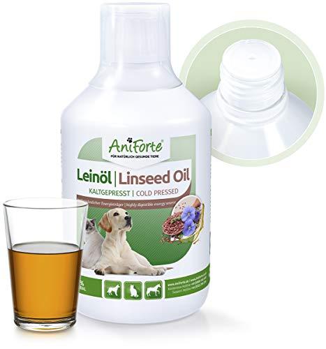 AniForte Leinöl für Hunde, Katzen, Pferde 500ml - Kaltgepresst, Nativ, Reich an Omega 3 und Omega 6 Fettsäuren, Lein Öl Barf Ergänzung, Hochwertiges Leinsamenöl als direkter Energie-Lieferant