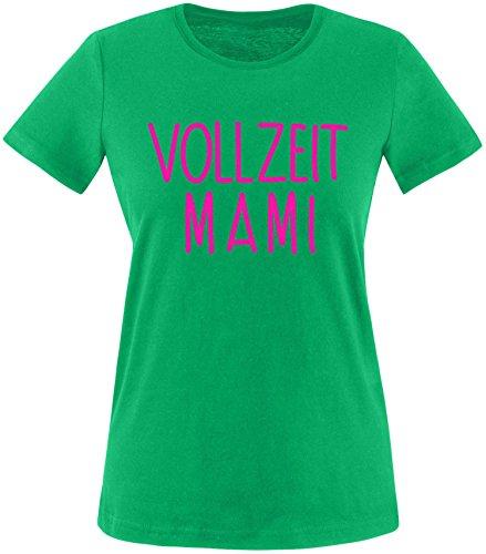 EZYshirt® Vollzeit Mami Damen Rundhals T-Shirt Grün/Pink