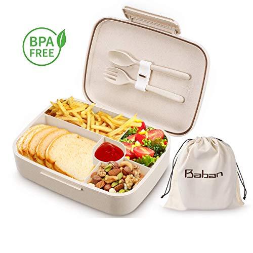 Baban Bentobox, 1300ml Brotdose mit Löffel und Gabel, aus Weizenstroh, Lunchbox für Studenten und Büroangestellte, Geeignet für Mikrowellen und Geschirrspüler