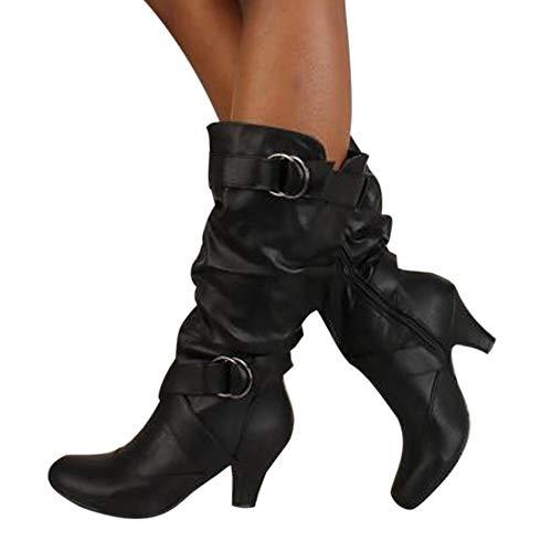 OSYARD Damen Lederstiefel Halbschaft Stiefel Hoher Absatz Freizeit Schuhe Schnalle Mode Sexy Frauen Overknee High Boot High Heel Lange Oberschenkel Stiefel Schuhe Stiefel (245/40, Schwarz)