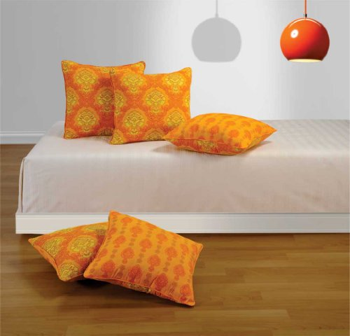 Swayam Drape and Dream Cotton 5 Piece Cushion Cover Set - Yellow (16x16 inch)