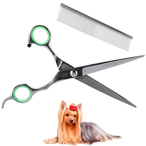 Lovinpet forbici per il cane da taglio, forbici professionali sharp e forti per cani da compagnia di animali da compagnia in acciaio inox curvato diritto rasatura e pettine